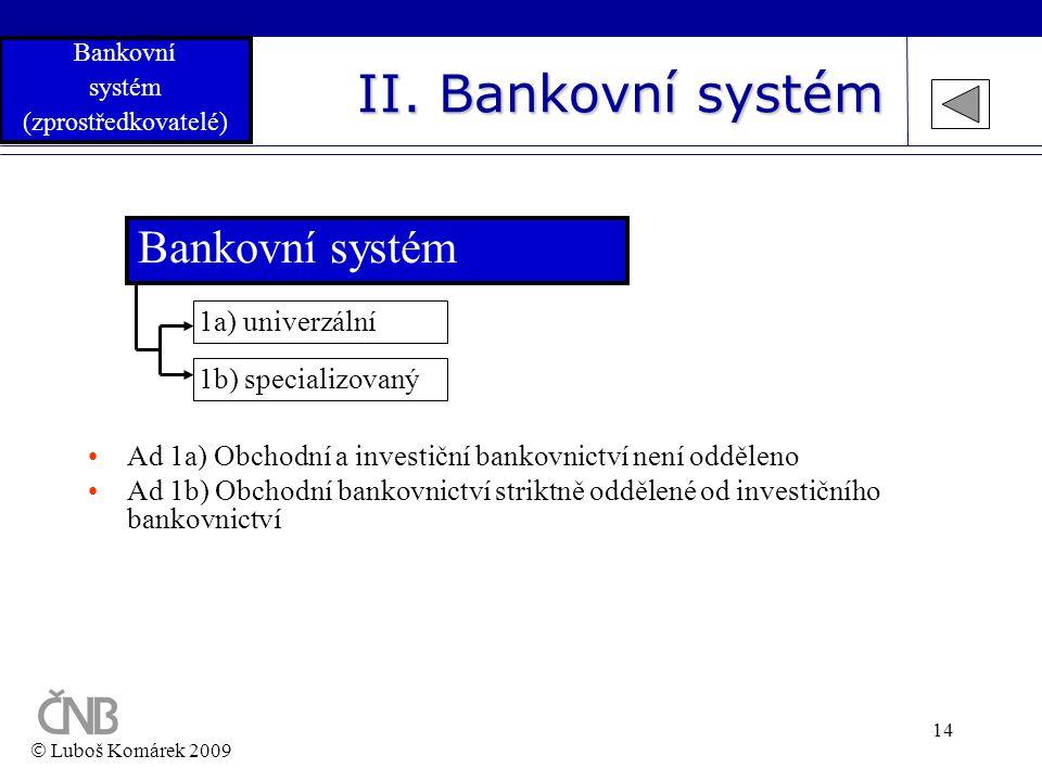 14 II. Bankovní systém Bankovní systém 1b) specializovaný 1a) univerzální •Ad 1a) Obchodní a investiční bankovnictví není odděleno •Ad 1b) Obchodní ba