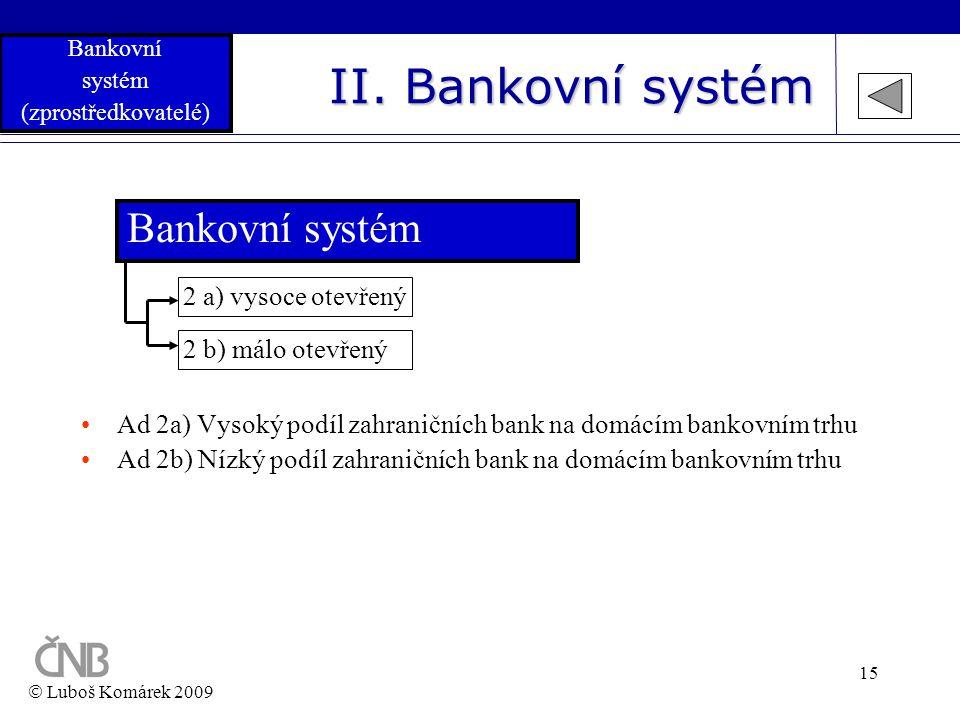 15 II. Bankovní systém Bankovní systém 2 b) málo otevřený 2 a) vysoce otevřený •Ad 2a) Vysoký podíl zahraničních bank na domácím bankovním trhu •Ad 2b