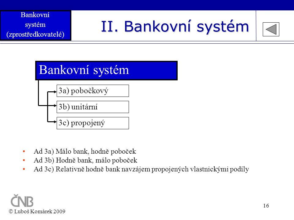 16 II. Bankovní systém Bankovní systém 3b) unitární 3a) pobočkový 3c) propojený •Ad 3a) Málo bank, hodně poboček •Ad 3b) Hodně bank, málo poboček •Ad