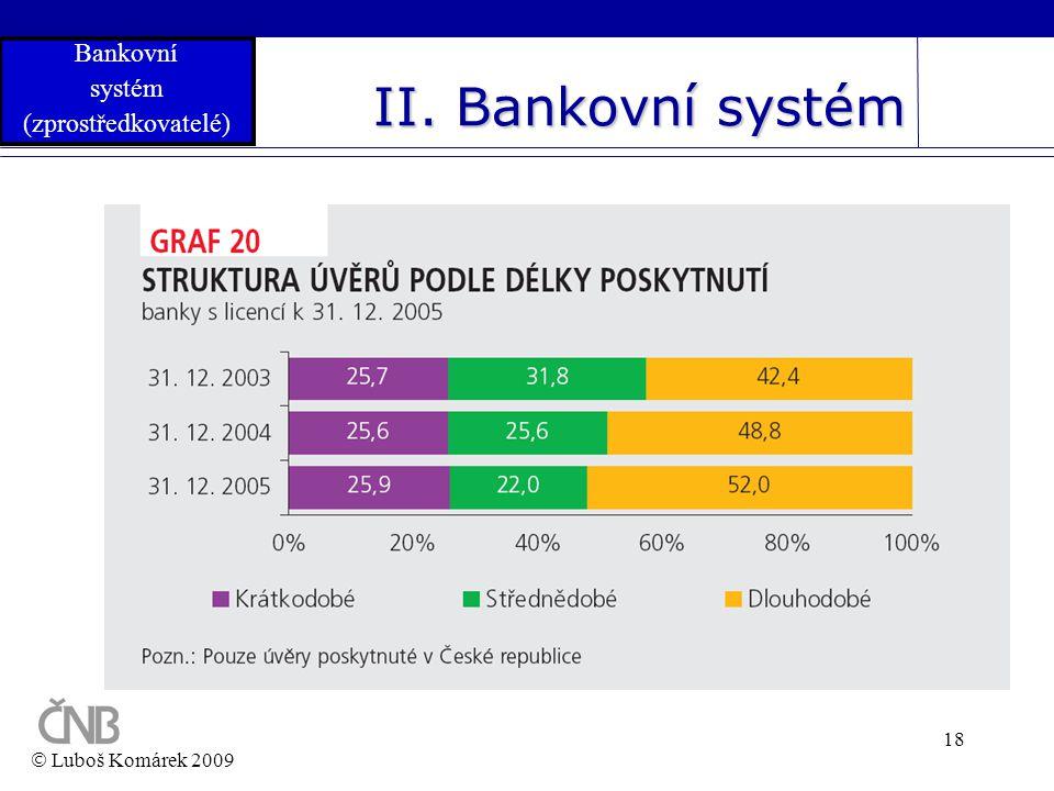 18 II. Bankovní systém  Luboš Komárek 2009 Bankovní systém (zprostředkovatelé)