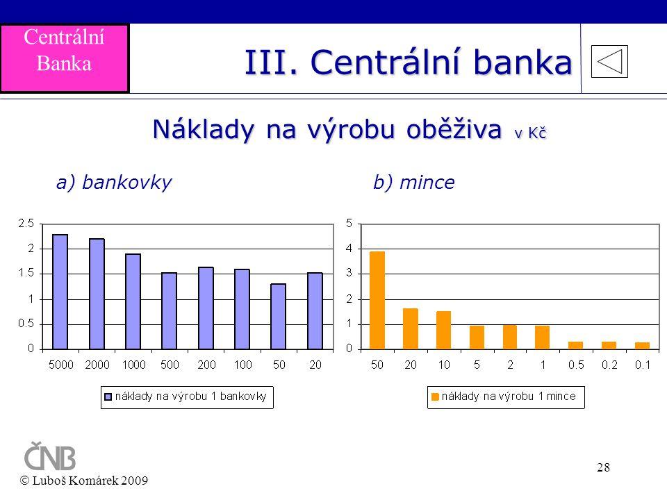 28 Náklady na výrobu oběživa v Kč b) mincea) bankovky  Luboš Komárek 2009 III. Centrální banka Centrální Banka
