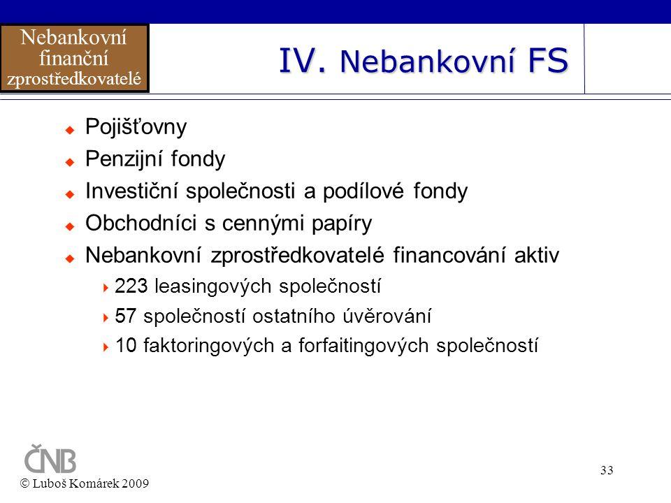 33 IV. Nebankovní FS  Luboš Komárek 2009 Nebankovní finanční zprostředkovatelé  Pojišťovny  Penzijní fondy  Investiční společnosti a podílové fond