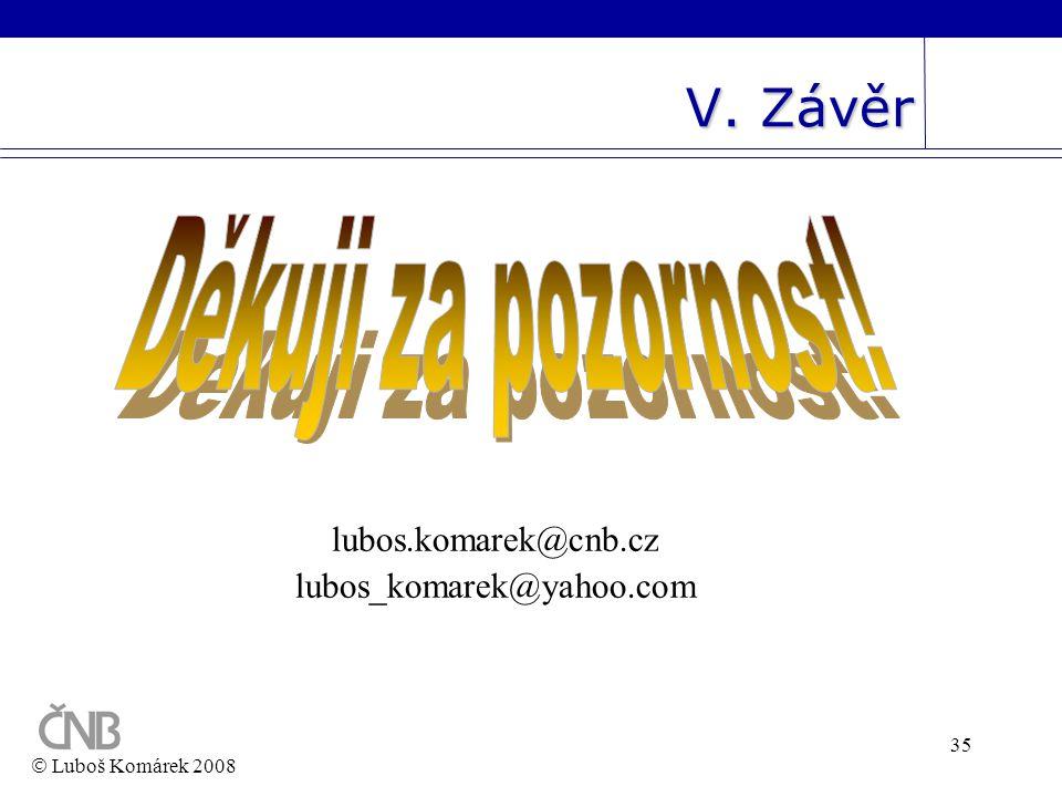 35 V. Závěr lubos.komarek@cnb.cz lubos_komarek@yahoo.com  Luboš Komárek 2008