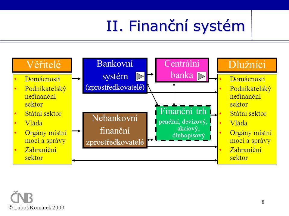 8 II. Finanční systém Věřitelé •Domácnosti •Podnikatelský nefinanční sektor •Státní sektor •Vláda •Orgány místní moci a správy •Zahraniční sektor Bank