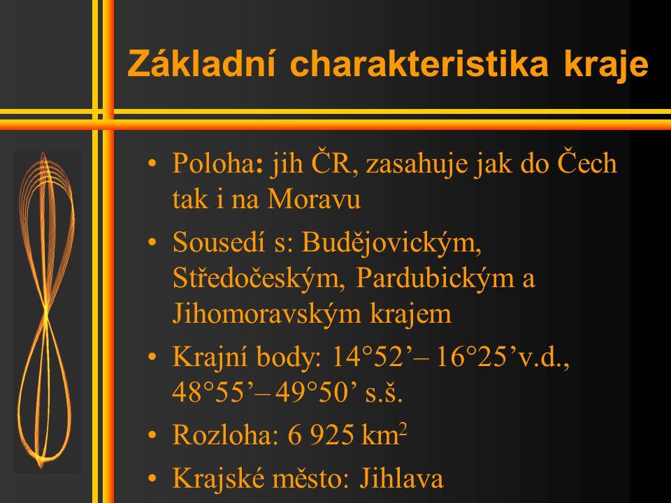 Základní charakteristika kraje •Poloha: jih ČR, zasahuje jak do Čech tak i na Moravu •Sousedí s: Budějovickým, Středočeským, Pardubickým a Jihomoravským krajem •Krajní body: 14°52'– 16°25'v.d., 48°55'– 49°50' s.š.