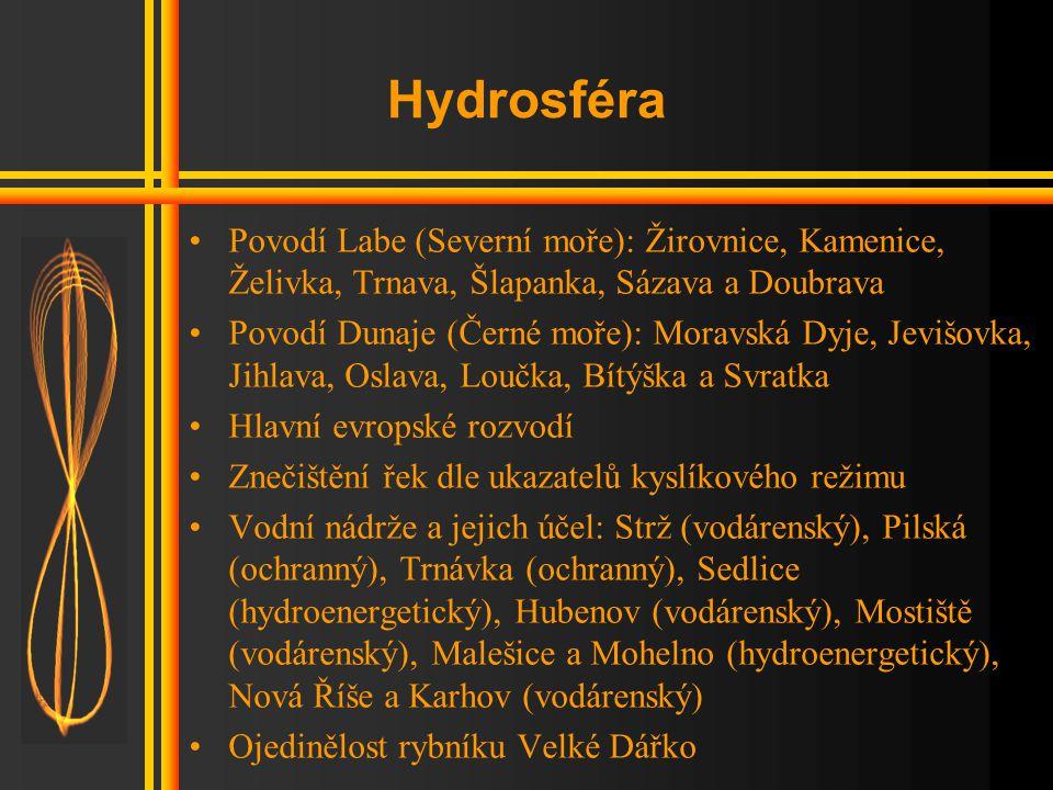 Hydrosféra •Povodí Labe (Severní moře): Žirovnice, Kamenice, Želivka, Trnava, Šlapanka, Sázava a Doubrava •Povodí Dunaje (Černé moře): Moravská Dyje, Jevišovka, Jihlava, Oslava, Loučka, Bítýška a Svratka •Hlavní evropské rozvodí •Znečištění řek dle ukazatelů kyslíkového režimu •Vodní nádrže a jejich účel: Strž (vodárenský), Pilská (ochranný), Trnávka (ochranný), Sedlice (hydroenergetický), Hubenov (vodárenský), Mostiště (vodárenský), Malešice a Mohelno (hydroenergetický), Nová Říše a Karhov (vodárenský) •Ojedinělost rybníku Velké Dářko
