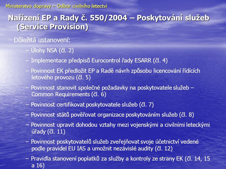 Nařízení EP a Rady č. 550/2004 – Poskytování služeb (Service Provision) Ministerstvo dopravy – Odbor civilního letectví Důležitá ustanovení: − Úlohy N