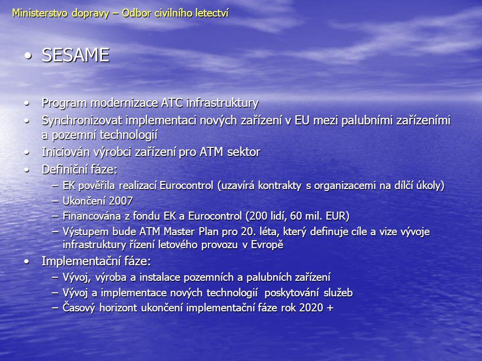 •SESAME •Program modernizace ATC infrastruktury •Synchronizovat implementaci nových zařízení v EU mezi palubními zařízeními a pozemní technologií •Ini