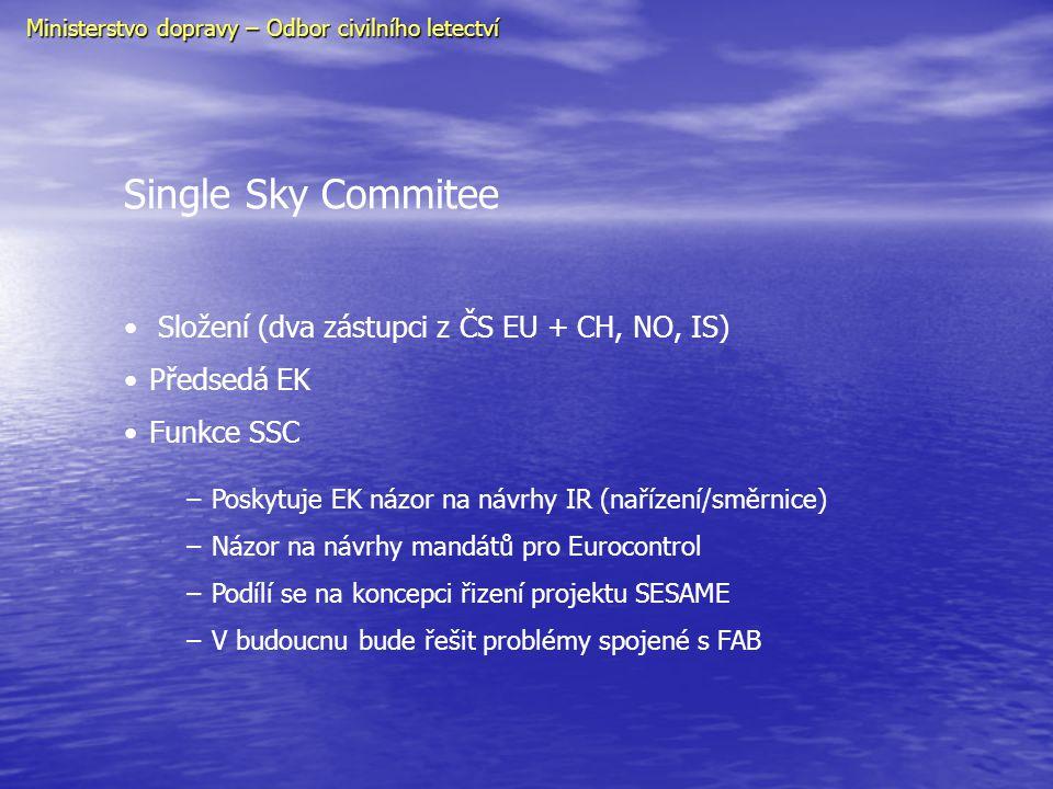 Industry Consultation Body • Poskytuje EK rady od všech zainteresovaných organizaci • Členství : - 4 ATSP-CANSO - 4 ATSP-CANSO - 4 výrobní průmysl - 4 výrobní průmysl - 2 letiště (ACI) - 2 letiště (ACI) - 5 profesní organizace (ECA, IFALPA) - 5 profesní organizace (ECA, IFALPA) - 8 uživatelé vzdušného prostoru (IATA, AEA, IACA, ERA,ELFAA, EBAA, IAOPA) - 8 uživatelé vzdušného prostoru (IATA, AEA, IACA, ERA,ELFAA, EBAA, IAOPA) - 2 CNS poskytovatelé služeb - 2 CNS poskytovatelé služeb - METEO služby - METEO služby • Současný předmět zájmu SESAME a interoperabilita Ministerstvo dopravy – Odbor civilního letectví