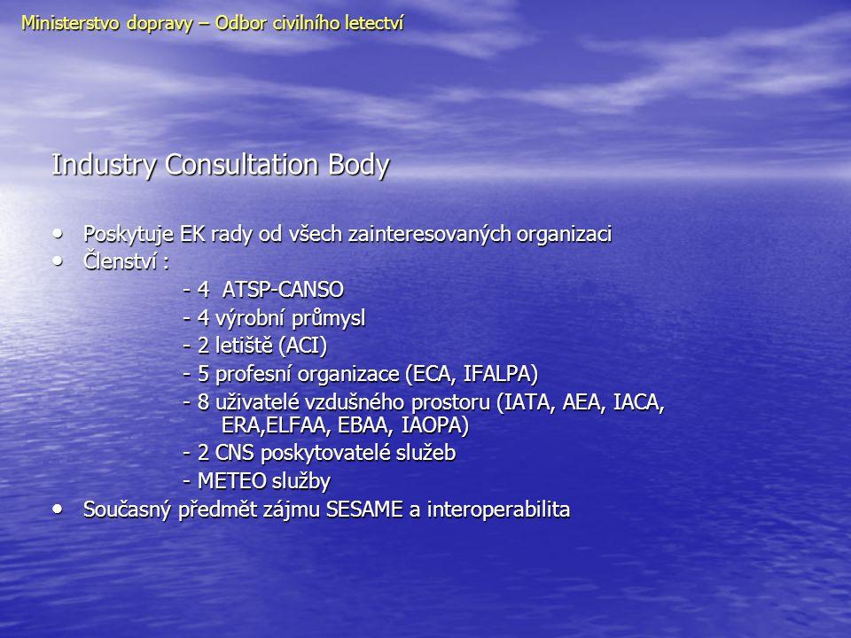 Industry Consultation Body • Poskytuje EK rady od všech zainteresovaných organizaci • Členství : - 4 ATSP-CANSO - 4 ATSP-CANSO - 4 výrobní průmysl - 4
