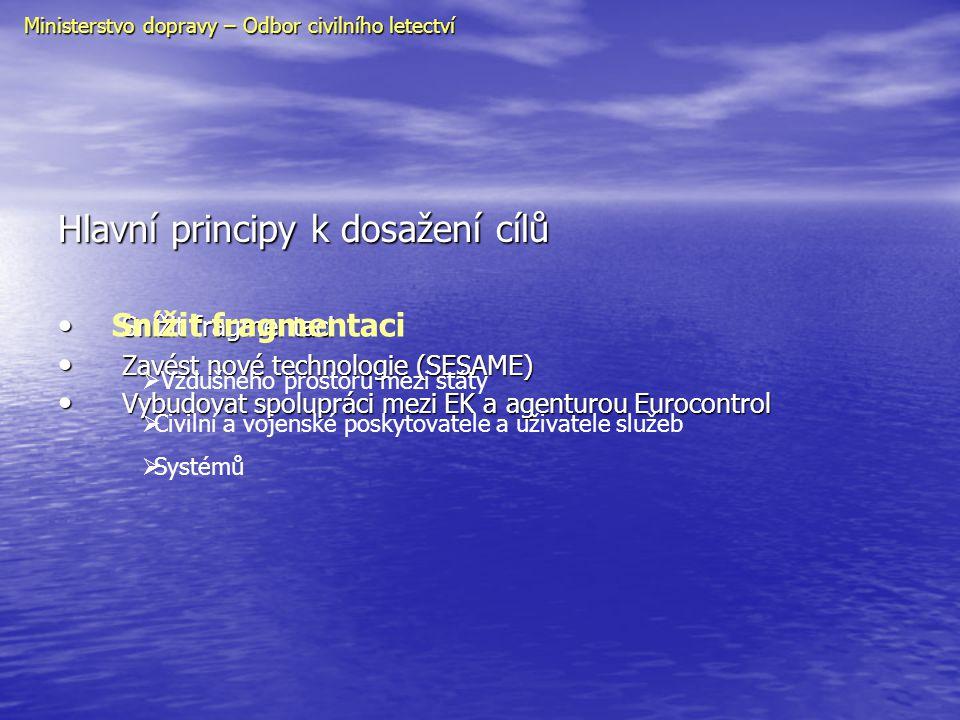 Realizace projektu • Legislativa (prováděcí směrnice) • Vytvoření Evropské horní informační oblasti – EUIR • Funkční bloky vzdušného prostoru – FAB • Pružné využívání vzdušného prostoru – FUA • Národní dozorové úřady – NSA (nezávislost) • Certifikace poskytovatelů služeb • Licencování řídících letového provozu (bezpečnost, volný pohyb) • Interoperabilita (součinnost stanovišť a systémů) • SESAME (nové technologie řízení provozu, navigace, komunikace, přehledu a řízení toku) Ministerstvo dopravy – Odbor civilního letectví