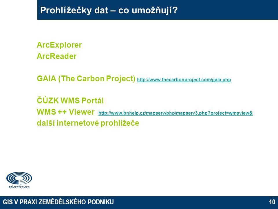 GIS V PRAXI ZEMĚDĚLSKÉHO PODNIKU10 Prohlížečky dat – co umožňují.