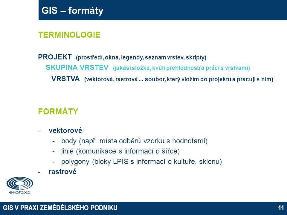 GIS V PRAXI ZEMĚDĚLSKÉHO PODNIKU11 GIS – formáty FORMÁTY -vektorové -body (např.