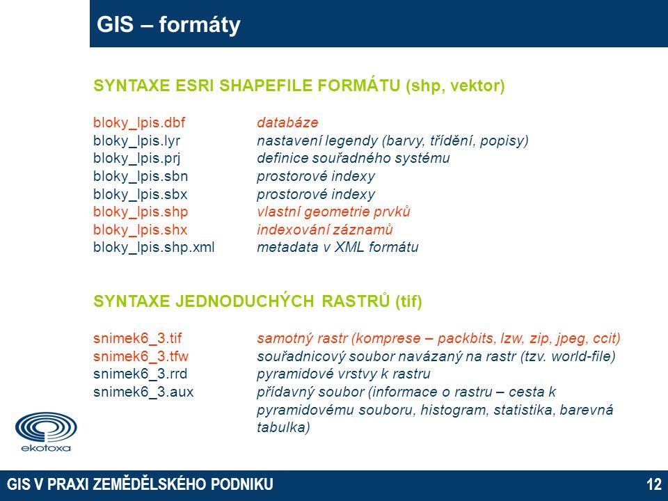 GIS V PRAXI ZEMĚDĚLSKÉHO PODNIKU12 GIS – formáty SYNTAXE ESRI SHAPEFILE FORMÁTU (shp, vektor) bloky_lpis.dbfdatabáze bloky_lpis.lyr nastavení legendy (barvy, třídění, popisy) bloky_lpis.prj definice souřadného systému bloky_lpis.sbnprostorové indexy bloky_lpis.sbxprostorové indexy bloky_lpis.shpvlastní geometrie prvků bloky_lpis.shxindexování záznamů bloky_lpis.shp.xmlmetadata v XML formátu SYNTAXE JEDNODUCHÝCH RASTRŮ (tif) snimek6_3.tifsamotný rastr (komprese – packbits, lzw, zip, jpeg, ccit) snimek6_3.tfw souřadnicový soubor navázaný na rastr (tzv.