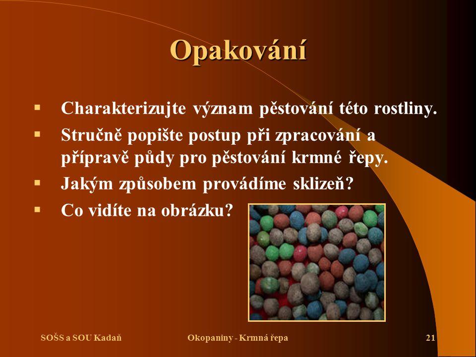 SOŠS a SOU KadaňOkopaniny - Krmná řepa21 Opakování  Charakterizujte význam pěstování této rostliny.