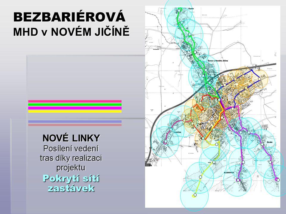 BEZBARIÉROVÁ MHD v NOVÉM JIČÍNĚ NOVÉ LINKY Posílení vedení tras díky realizaci projektu Pokrytí sítí zastávek