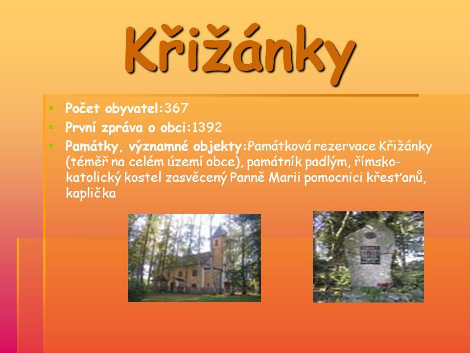 Křižánky PPočet obyvatel:367 PPrvní zpráva o obci:1392 PPamátky, významné objekty:Památková rezervace Křižánky (téměř na celém území obce)