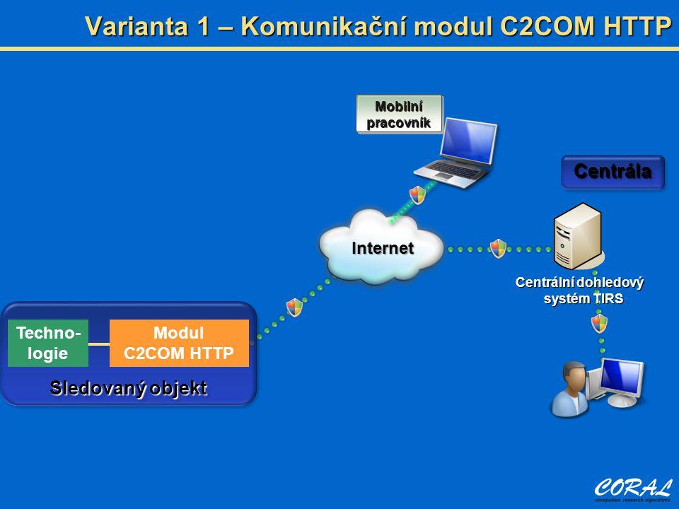 Varianta 1 – Komunikační modul C2COM HTTP Centrální dohledový systém TIRS Internet CentrálaCentrála Sledovaný objekt Mobilní pracovník Techno- logie M