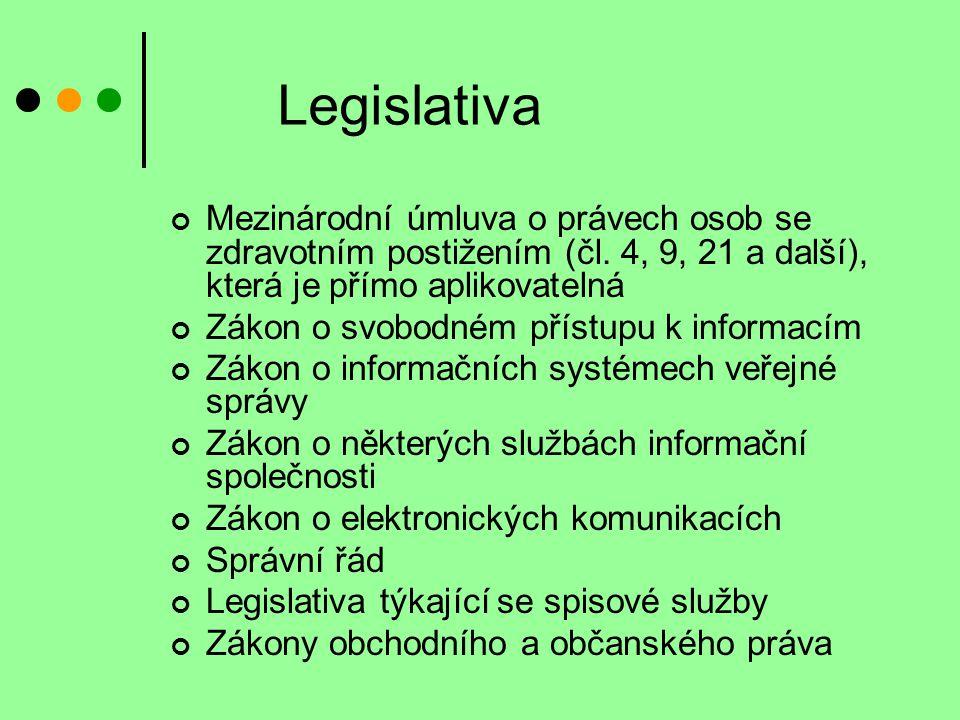 Legislativa Mezinárodní úmluva o právech osob se zdravotním postižením (čl. 4, 9, 21 a další), která je přímo aplikovatelná Zákon o svobodném přístupu