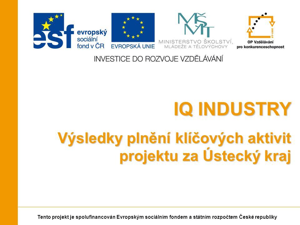 Tento projekt je spolufinancován Evropským sociálním fondem a státním rozpočtem České republiky IQ INDUSTRY Výsledky plnění klíčových aktivit projektu za Ústecký kraj