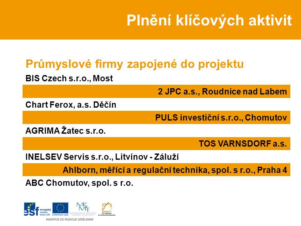 Průmyslové firmy zapojené do projektu BIS Czech s.r.o., Most 2 JPC a.s., Roudnice nad Labem Chart Ferox, a.s.