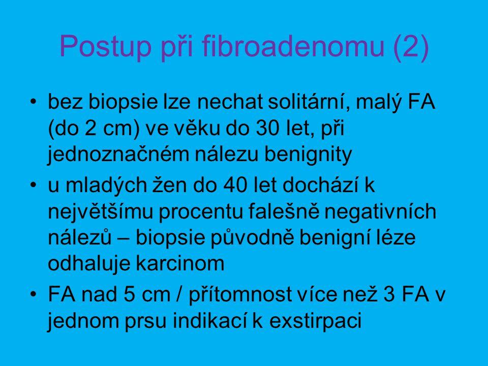 Postup při fibroadenomu (2) •bez biopsie lze nechat solitární, malý FA (do 2 cm) ve věku do 30 let, při jednoznačném nálezu benignity •u mladých žen do 40 let dochází k největšímu procentu falešně negativních nálezů – biopsie původně benigní léze odhaluje karcinom •FA nad 5 cm / přítomnost více než 3 FA v jednom prsu indikací k exstirpaci