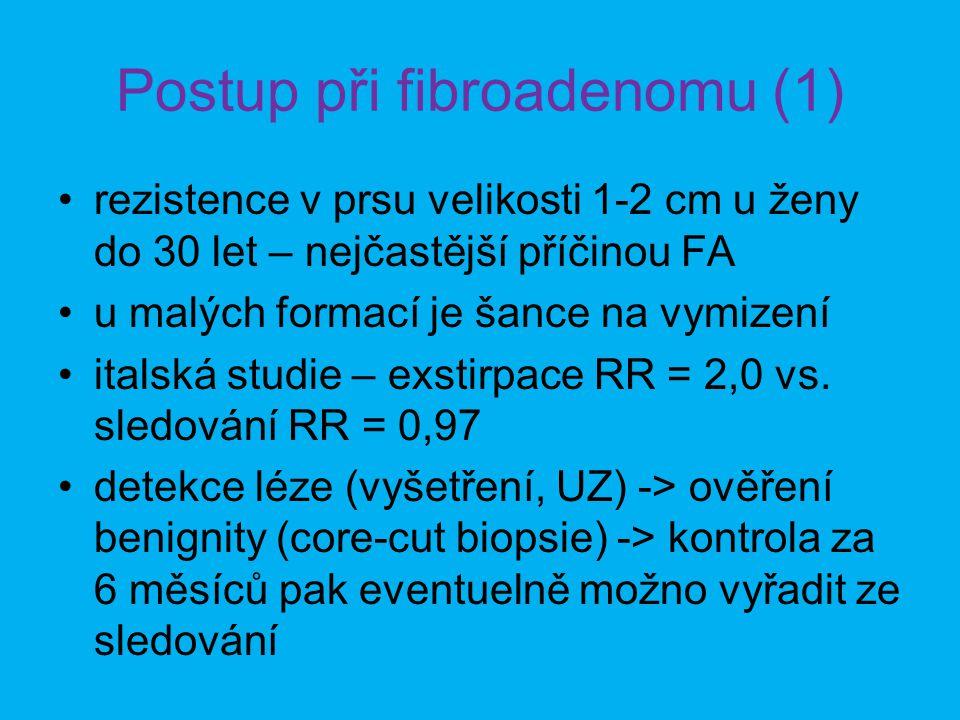 Postup při fibroadenomu (1) •rezistence v prsu velikosti 1-2 cm u ženy do 30 let – nejčastější příčinou FA •u malých formací je šance na vymizení •italská studie – exstirpace RR = 2,0 vs.