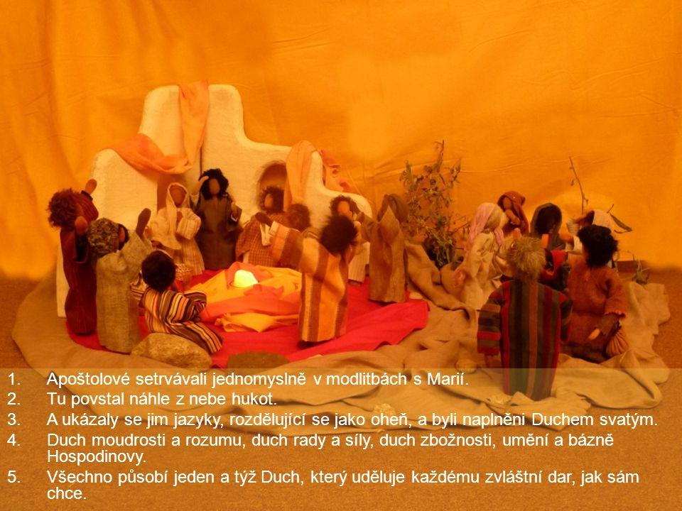 1.Apoštolové setrvávali jednomyslně v modlitbách s Marií. 2.Tu povstal náhle z nebe hukot. 3.A ukázaly se jim jazyky, rozdělující se jako oheň, a byli