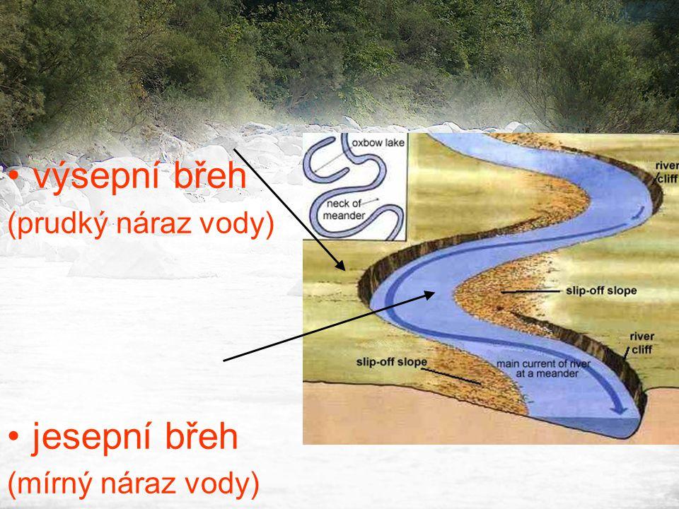 •výsepní břeh (prudký náraz vody) •jesepní břeh (mírný náraz vody)