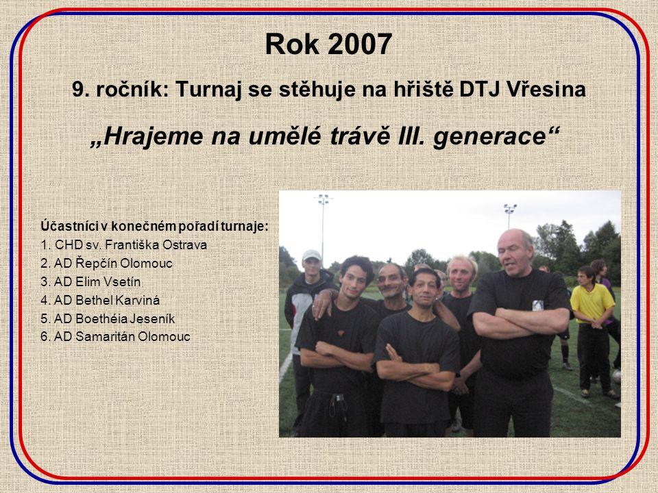 """Rok 2007 9. ročník: Turnaj se stěhuje na hřiště DTJ Vřesina """"Hrajeme na umělé trávě III."""