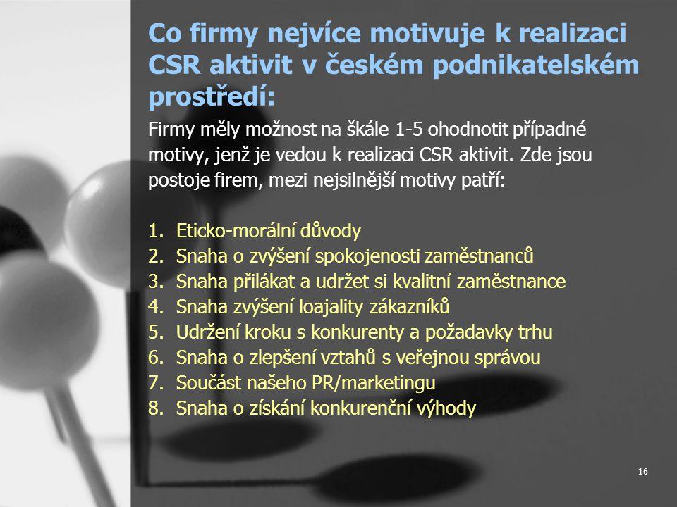 16 Co firmy nejvíce motivuje k realizaci CSR aktivit v českém podnikatelském prostředí: Firmy měly možnost na škále 1-5 ohodnotit případné motivy, jenž je vedou k realizaci CSR aktivit.