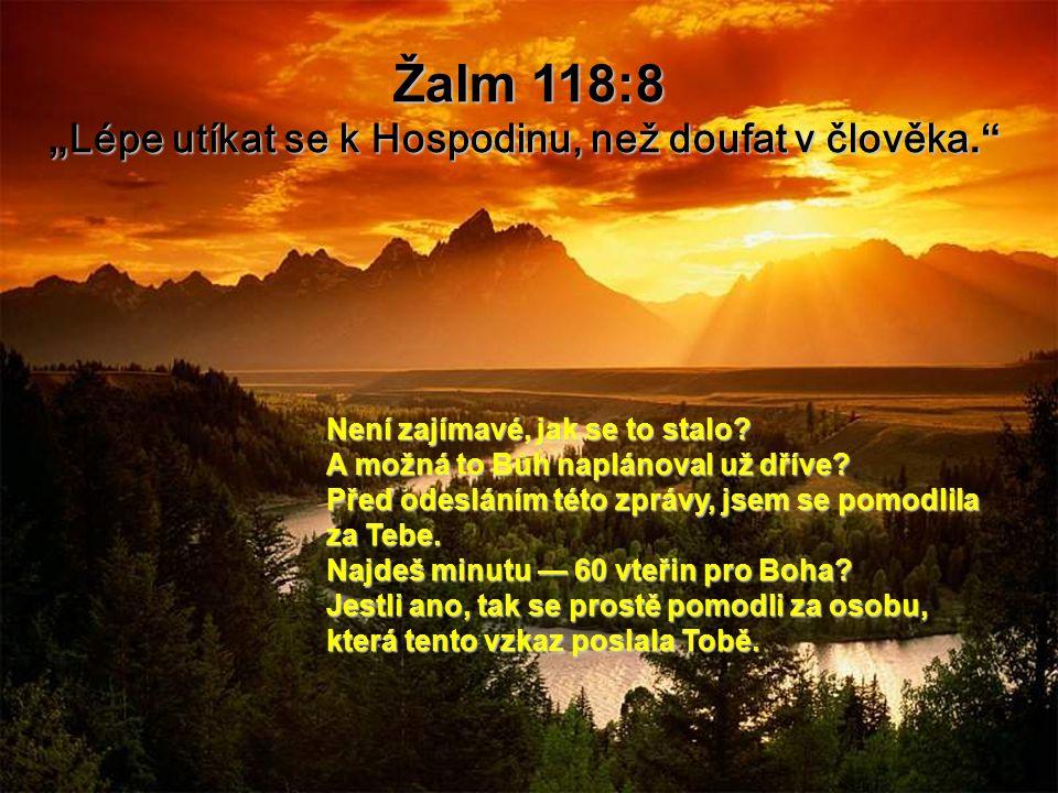 """Žalm 118:8 """" Lépe utíkat se k Hospodinu, než doufat v člověka. Není zajímavé, jak se to stalo."""