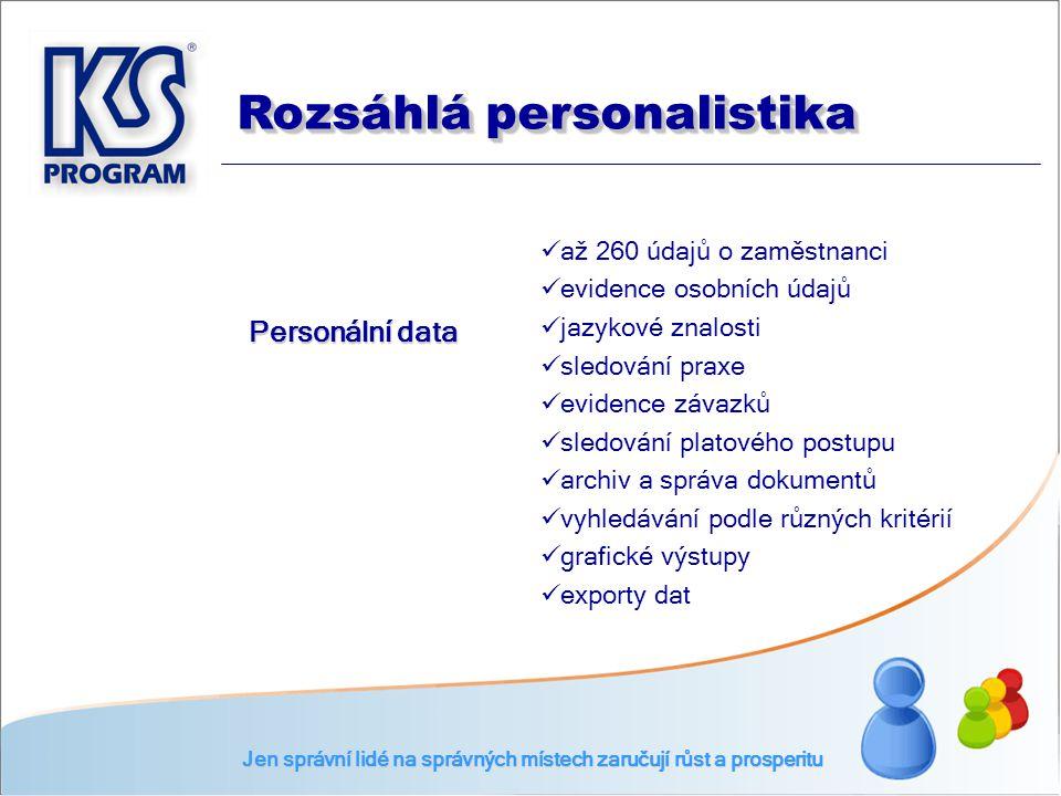  až 260 údajů o zaměstnanci  evidence osobních údajů  jazykové znalosti  sledování praxe  evidence závazků  sledování platového postupu  archiv