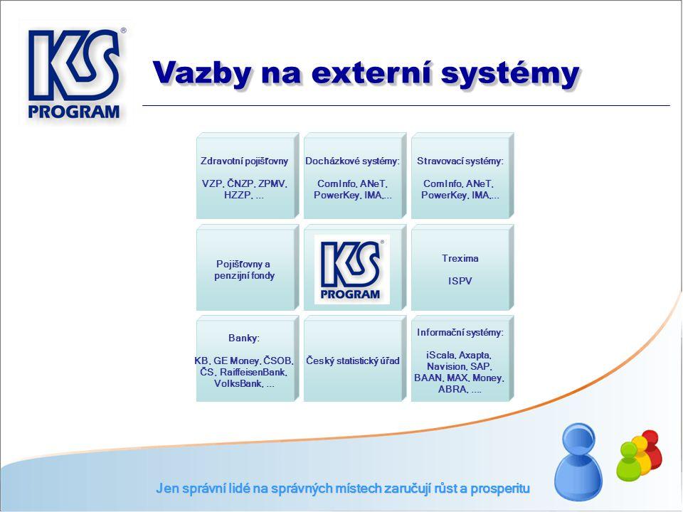 Zdravotní pojišťovny VZP, ČNZP, ZPMV, HZZP,... Docházkové systémy: ComInfo, ANeT, PowerKey, IMA,... Stravovací systémy: ComInfo, ANeT, PowerKey, IMA,.