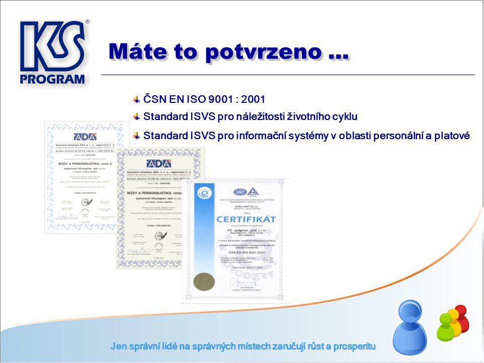ČSN EN ISO 9001 : 2001 Standard ISVS pro náležitosti životního cyklu Standard ISVS pro informační systémy v oblasti personální a platové Jen správní l