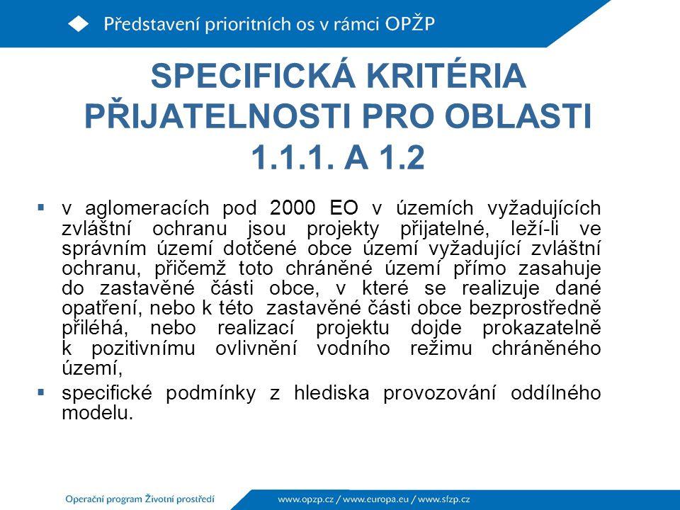 SPECIFICKÁ KRITÉRIA PŘIJATELNOSTI PRO OBLASTI 1.1.1.