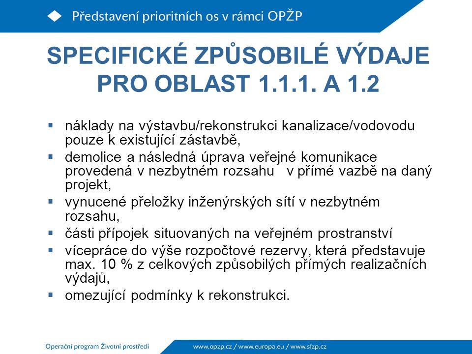 SPECIFICKÉ ZPŮSOBILÉ VÝDAJE PRO OBLAST 1.1.1.