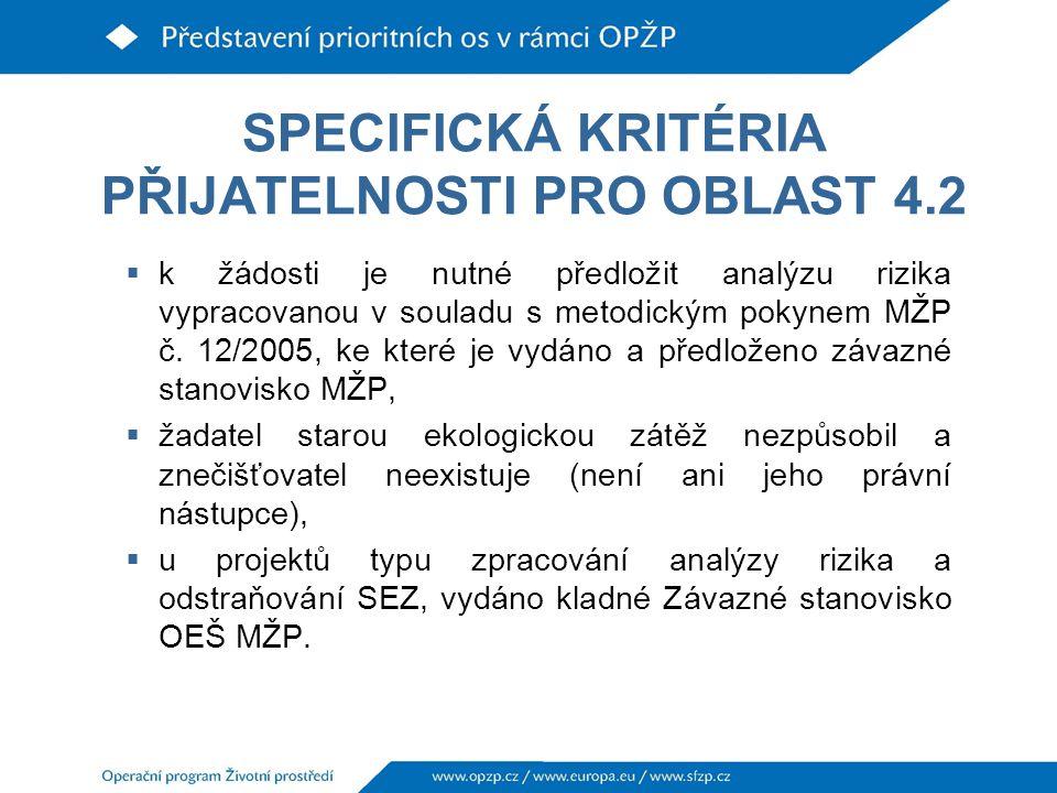 SPECIFICKÁ KRITÉRIA PŘIJATELNOSTI PRO OBLAST 4.2  k žádosti je nutné předložit analýzu rizika vypracovanou v souladu s metodickým pokynem MŽP č.