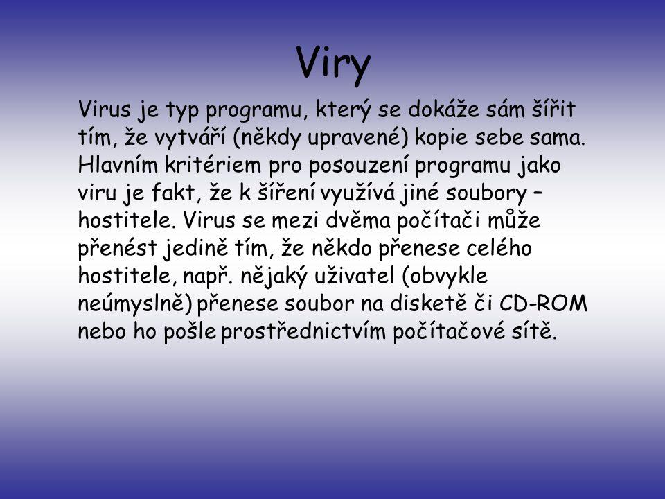 Viry Virus je typ programu, který se dokáže sám šířit tím, že vytváří (někdy upravené) kopie sebe sama.