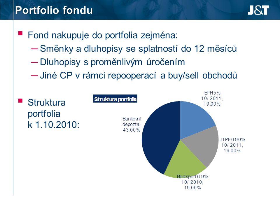 Portfolio fondu  Fond nakupuje do portfolia zejména: ─ Směnky a dluhopisy se splatností do 12 měsíců ─ Dluhopisy s proměnlivým úročením ─ Jiné CP v r