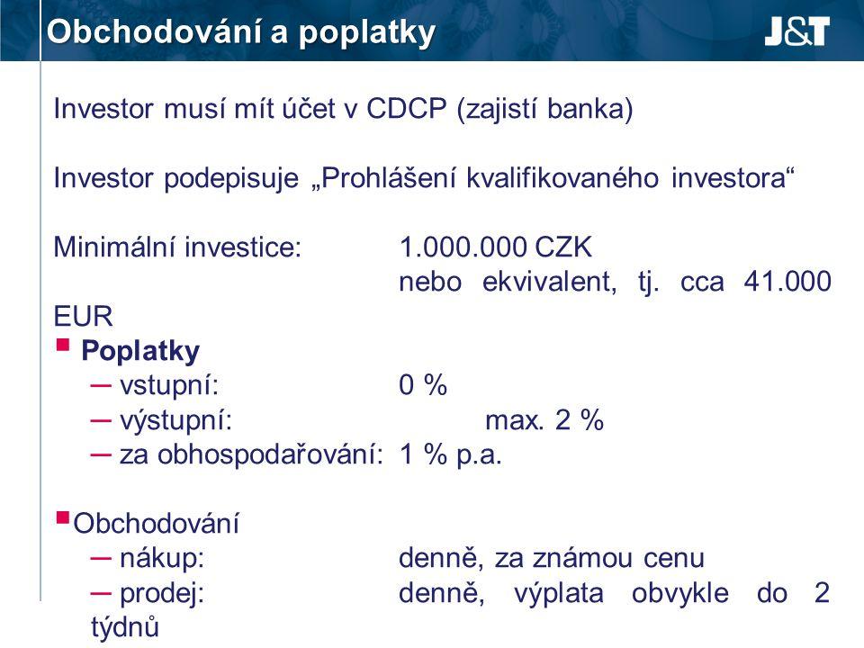 """Obchodování a poplatky Investor musí mít účet v CDCP (zajistí banka) Investor podepisuje """"Prohlášení kvalifikovaného investora"""" Minimální investice:1."""