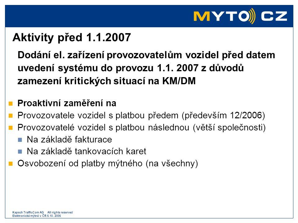 Kapsch TrafficCom AG All rights reserved Elektronické mýtné v ČR 6.10..2006 Aktivity před 1.1.2007 Dodání el. zařízení provozovatelům vozidel před dat