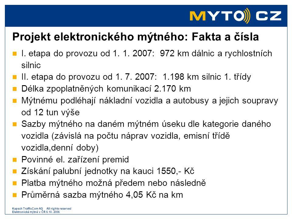 Kapsch TrafficCom AG All rights reserved Elektronické mýtné v ČR 6.10..2006 Projekt elektronického mýtného: Fakta a čísla  I. etapa do provozu od 1.