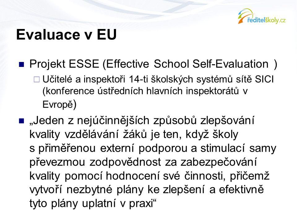 Evaluace v EU  Projekt ESSE (Effective School Self-Evaluation )  Učitelé a inspektoři 14-ti školských systémů sítě SICI (konference ústředních hlavn