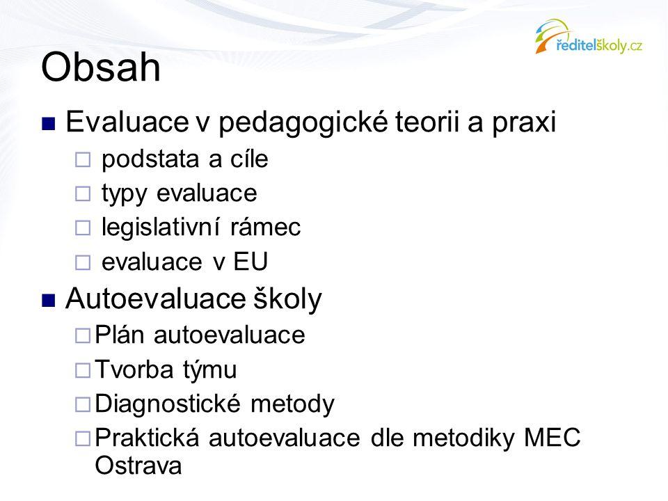 Obsah  Evaluace v pedagogické teorii a praxi  podstata a cíle  typy evaluace  legislativní rámec  evaluace v EU  Autoevaluace školy  Plán autoe