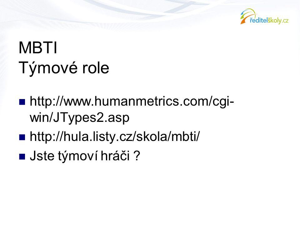 MBTI Týmové role  http://www.humanmetrics.com/cgi- win/JTypes2.asp  http://hula.listy.cz/skola/mbti/  Jste týmoví hráči ?