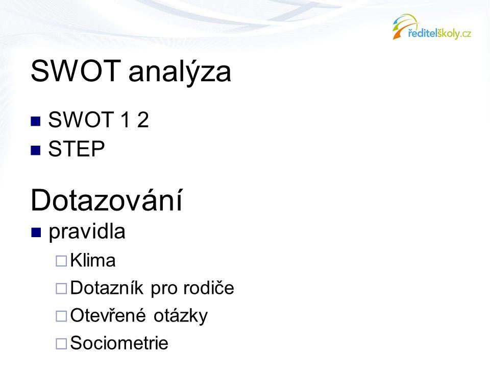 SWOT analýza  SWOT 1 2  STEP Dotazování  pravidla  Klima  Dotazník pro rodiče  Otevřené otázky  Sociometrie