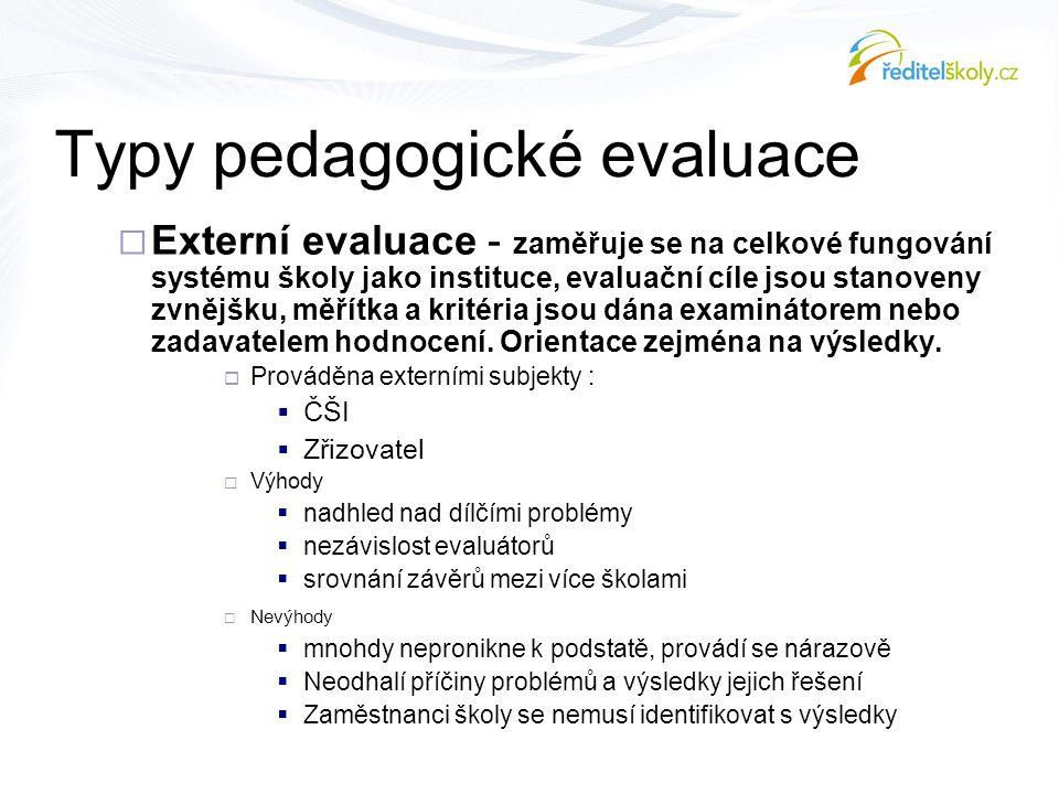  Externí evaluace - zaměřuje se na celkové fungování systému školy jako instituce, evaluační cíle jsou stanoveny zvnějšku, měřítka a kritéria jsou dá
