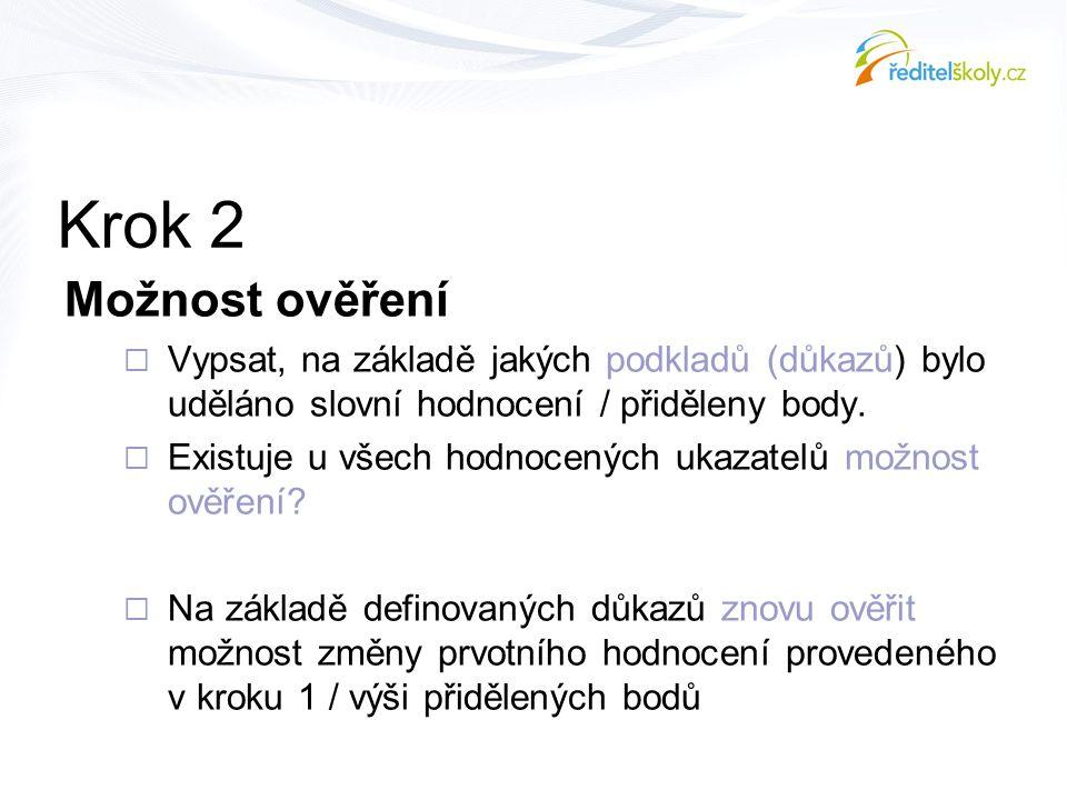 Krok 2 Možnost ověření  Vypsat, na základě jakých podkladů (důkazů) bylo uděláno slovní hodnocení / přiděleny body.  Existuje u všech hodnocených uk