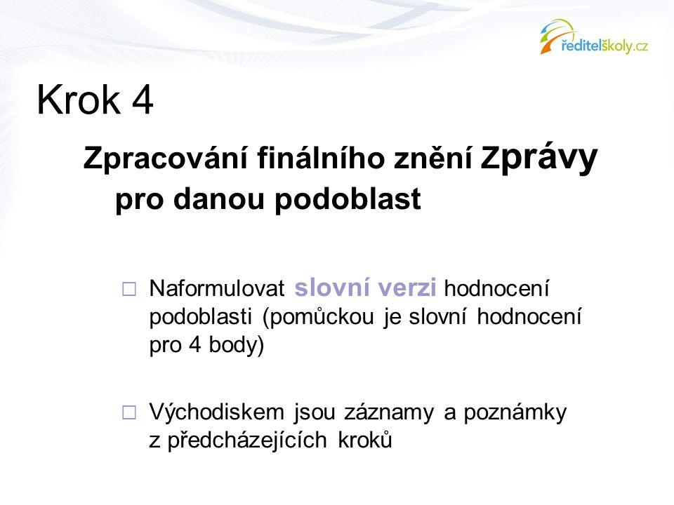 Krok 4 Zpracování finálního znění Z právy pro danou podoblast  Naformulovat slovní verzi hodnocení podoblasti (pomůckou je slovní hodnocení pro 4 bod